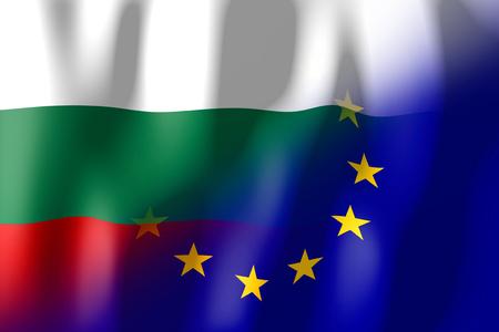 Bulgaria and European Union flags Stock Photo