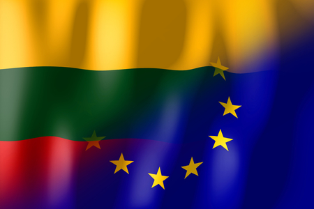 Lithuania and European Union flags Stock fotó