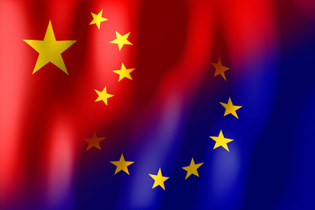 treaty: China and European Union flags