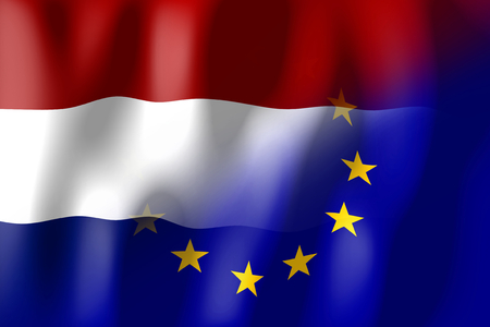 네덜란드 및 유럽 연합 깃발 스톡 콘텐츠