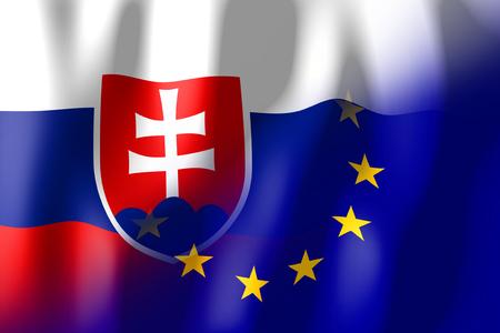 Slovakia and European Union flags