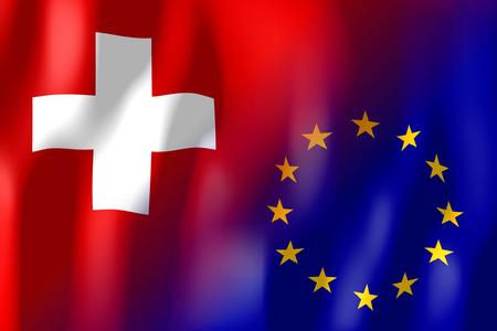 Suisse et drapeaux de l & # 39 ; union Banque d'images - 83031131