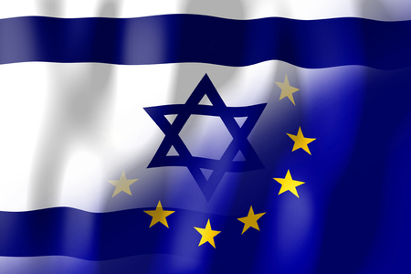 treaty: Israel and European Union flags