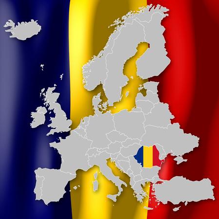 Map of Europe - Romania Imagens