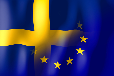 treaty: Sweden and European Union flags Stock Photo
