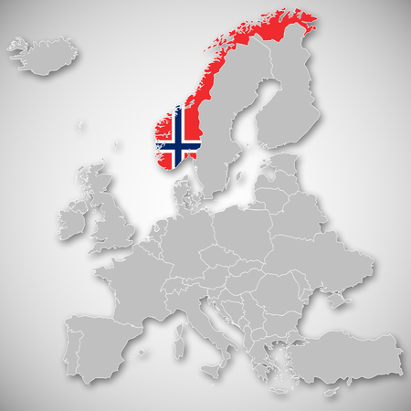 Map of Europe - Norway Stock Photo