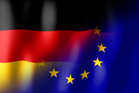treaty: Germany and European Union flags Stock Photo