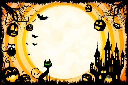 Halloween illustration - card template Foto de archivo