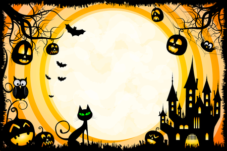 Halloween illustration - card template Stock Photo