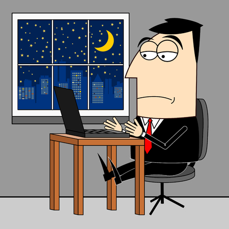 overtime: Businessman, overtime clip-art Stock Photo