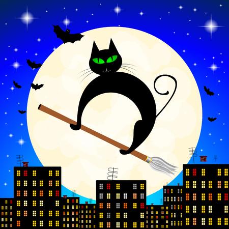 Halloween illustration - black cat