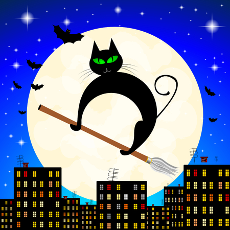 Halloween illustration - black cat