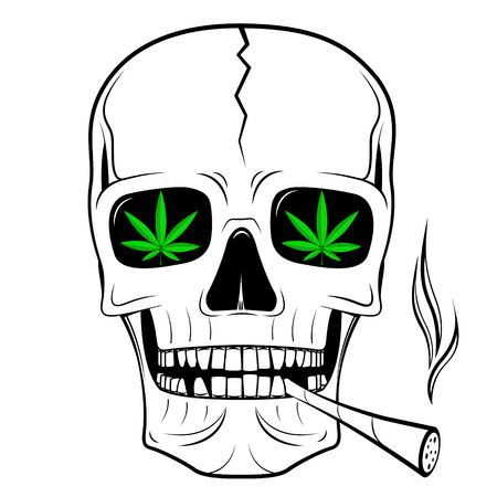 Skull illustration - smoking weed