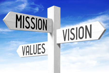 Mission, vision, values - signpost
