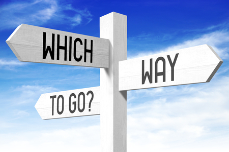 Which way to go - wooden signpost