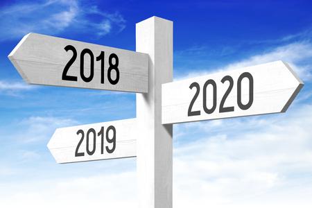 2018, 2019, 2020 - 나무 표지판 스톡 콘텐츠