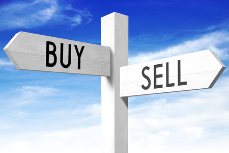 sell: Sell, buy - wooden signpost