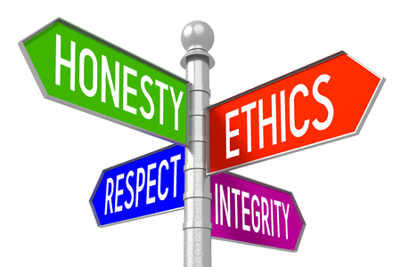 business ethics: Business ethics - colorful signpost