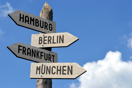 Hamburg, Berlin, Frankfurt, Munchen - signpost