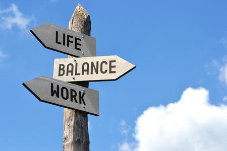 Leven, balans, werk wegwijzer Stockfoto