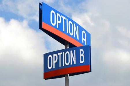 Option A and option B street sign