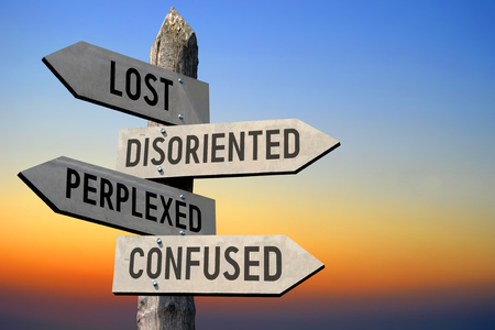 Lost, disoriented, perplexed, confused signpost