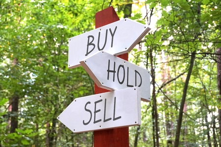 sell: Wooden signpost - buy, hold, sell