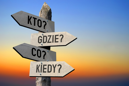 when: Kto, gdzie, co, kiedy - polish signpost Stock Photo