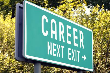 Career - next exit sign Stock Photo