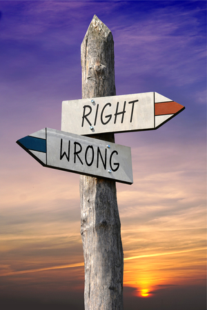 Right or wrong signpost Stock Photo