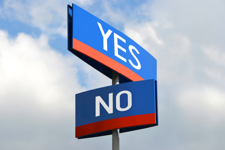 Yes or no street sign