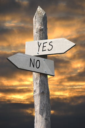Yes or no signpost Stock Photo