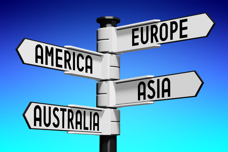 clarity: 3D illustration 3D rendering - signpost with four arrows - continents Stock Photo