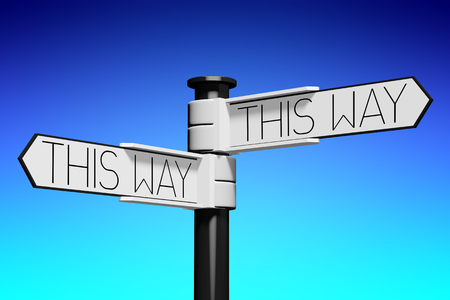3D illustration 3D rendering - crossroads concept - this way