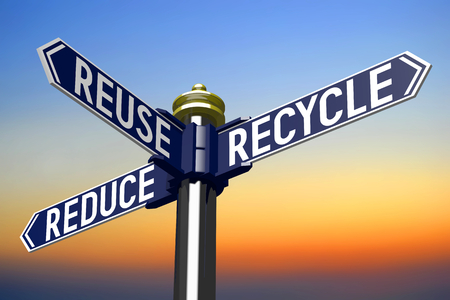 3D illustration 3D rendering - signpost with three arrows - recycling concept