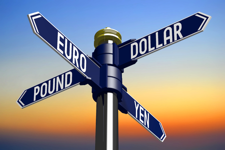 intersection: 3D illustration 3D rendering - signpost with four arrows - currencies Stock Photo