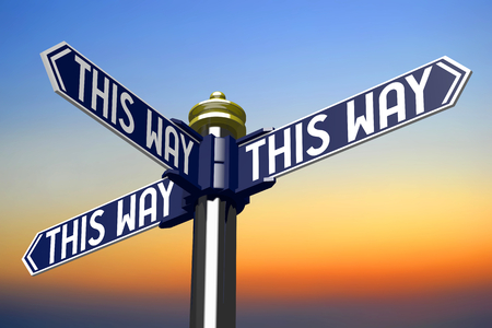 3D illustration 3D rendering - signpost with three arrows - this way signpost