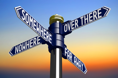 far away: 3D illustration 3D rendering - signpost with four arrows - directions Stock Photo
