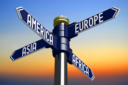 intersection: 3D illustration 3D rendering - signpost with four arrows - continents Stock Photo
