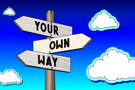 Signpost - your own way Stock Photo