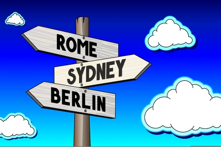 3D illustration 3D rendering - signpost with three arrows - captal cities concept