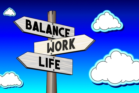 3D illustration 3D rendering - signpost with three arrows - work balance concept Stock Photo