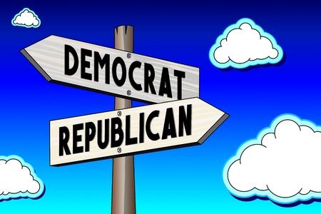3D illustration 3D rendering - crossroads concept - democrat or republican