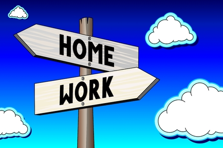 Signpost - work, home Stock Photo