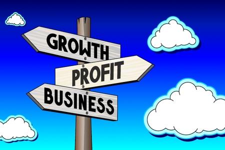 Signpost - growth, profit, business Stock Photo