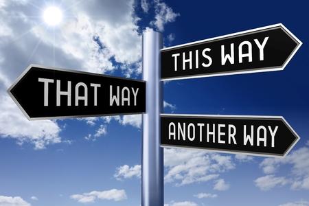 Black signpost - this way, that way, another way 版權商用圖片