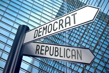 democrat: 3D signpost - democrat, republican