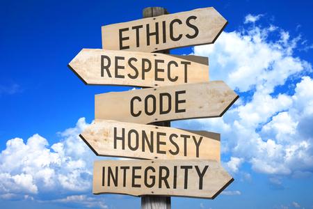 panneau en bois - éthique d & # 39 ;