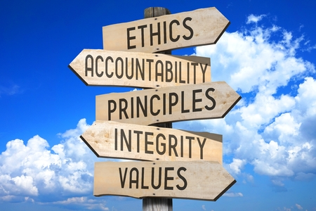 Wooden signpost - business ethics