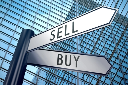 sell: 3D signpost - buy, sell